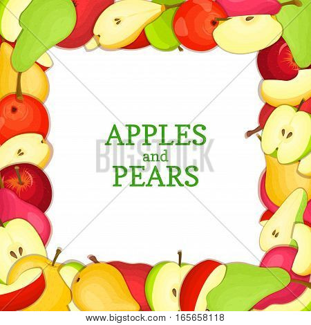 Square colored frame composed of delicious pear apple fruit. Vector card illustration. Rectangle pears apples frame Ripe fresh fruits appetizing looking for packaging design of juice breakfast food