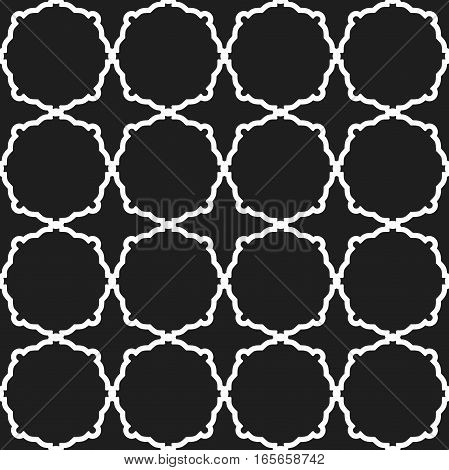 Seamless vector black and white ornament in arabian style. Geometric abstract background. Pattern for wallpapers and backgrounds