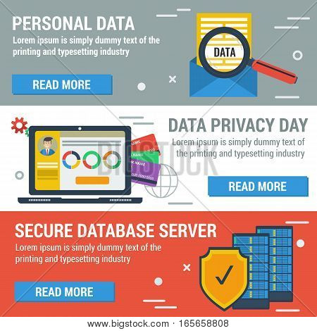 Vector three horizontal banners for Data Privacy Day with elements of safe storage of personal data in flat style