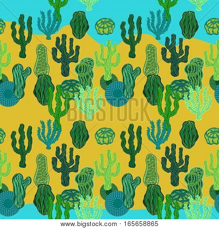 Ethnic textile collection. Dark blue, green, yellow.