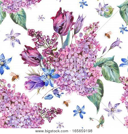 Vintage garden watercolor spring seamless background with purple flowers, lilacs, tulips, scilla and bee
