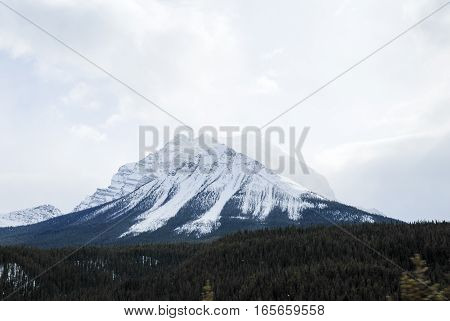 Fairview Mountain and Mount Temple in Winter Banff National Park Canadian Rockies