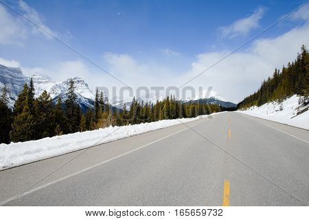 Road in Canadian Rockies in Winter, Alberta, Canada