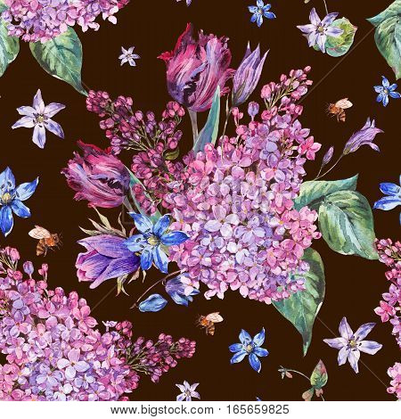 Vintage garden watercolor spring seamless background with purple flowers, lilacs, tulips, scilla and bee, botanical illustration on black