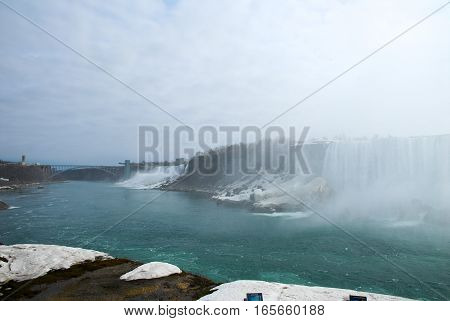 Niagara Falls in Winter - American Falls from Journey Behind the Falls