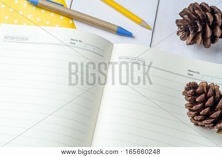 Blank daily planner notebook with pen and color pencil on white wooden background