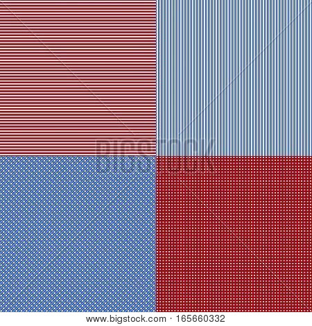 Blue and red simple stripes abstract seamless vector pattern, geometric primitive background