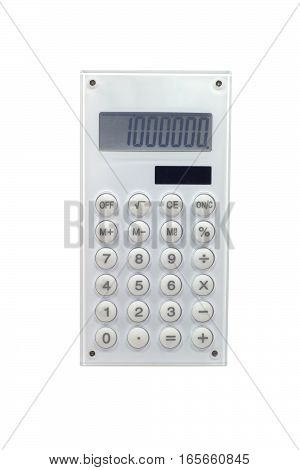 White solar power calculator isolated on white