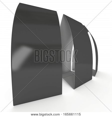 Three black paper tent cards. 3d render illustration isolated. Table cards mock up on white background.