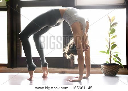 Young attractive woman practicing yoga near floor window, standing in Bridge exercise, Urdhva Dhanurasana pose, working out, wearing sportswear, grey pants, bra, indoor full length, home interior