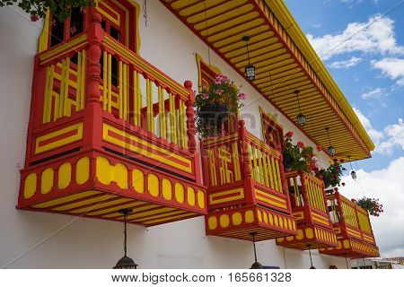September 21, 2016 Salento, Colombia: colonial style colourful balconies are decorating the houses in the coffee producing town