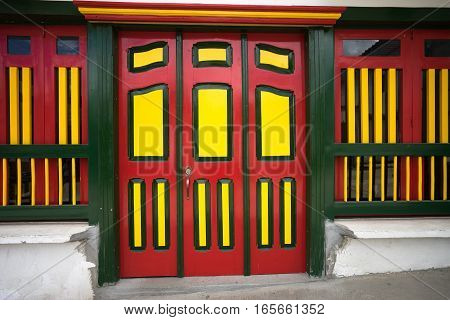 colourful exterior wooden door closeup in Colombia