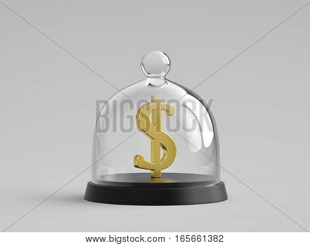 Golden dollar sign under glass bell jar. 3D rendering with clipping path