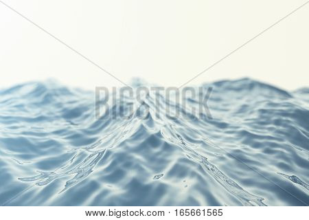 Sea wave close-up, low angle view with bokeh effects. 3d rendering.