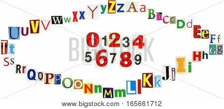 Colorful newspapers magazines letters and numbers forming an eye isolated on a white background. Anonymous alphabet