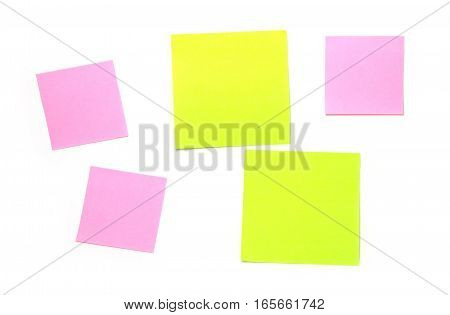 Many small post-it close-up isolated on white