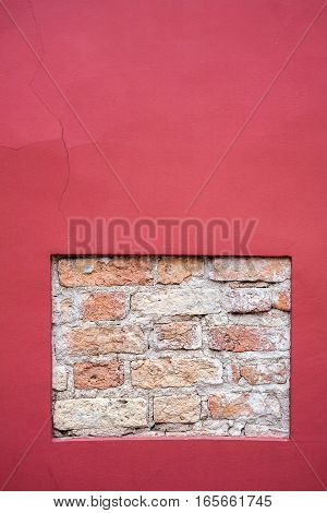Detail of an new and old cement and brick wall texture
