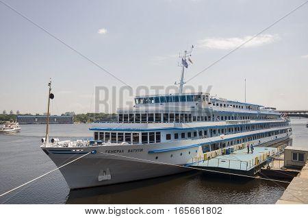 Dnipro river in Kiev city, Ukraine. July 04, 2013.  Liner called General Vatutin
