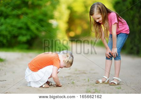 Two Adorable Little Girl Catching Babyfrogs
