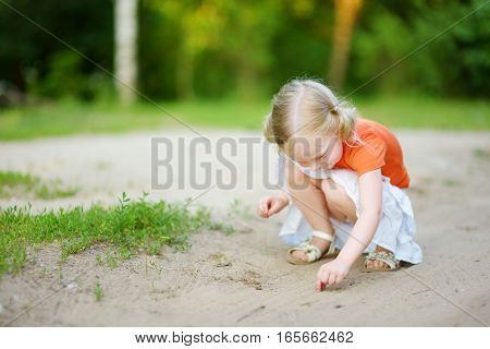 Adorable Little Girl Catching Little Babyfrogs