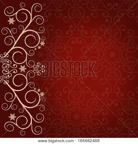 Red background with golden lace floral ornament border - elegant background illustration for greeting card invitation