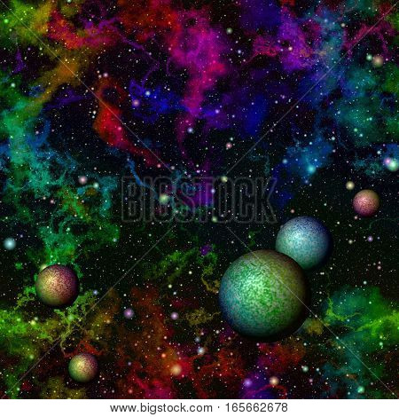 Abstract dark colorful universe with planets.  Rainbow nebula night starry sky. Multicolor outer space.  Galactic texture background. Seamless illustration.