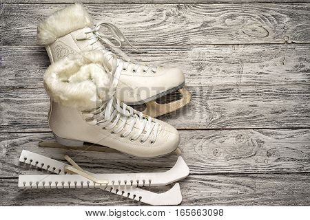 Pair of White Ice Skates with copy space