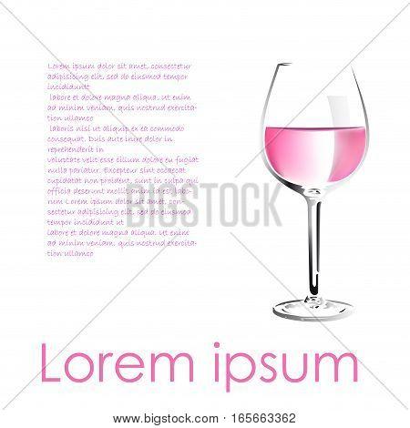 Vector rosé wine description in white background