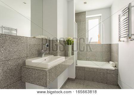 Minimalist Washbasin In Granite Bathroom