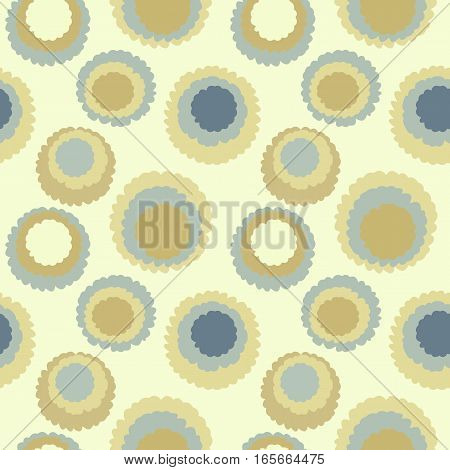Seamless polka dot, motley texture. Abstract spotty pattern. Circles with torn paper effect. Soft gray, yellow colored. Gold cornflakes theme. Vector