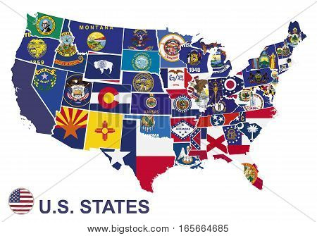 US map with flags of states on white background