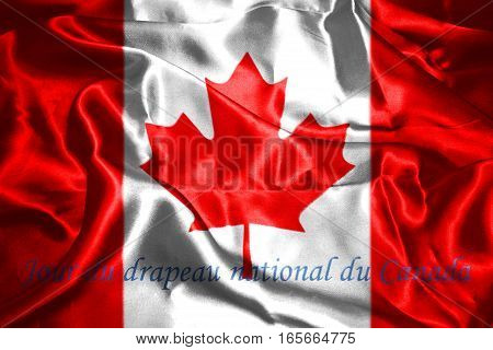 Canadian National Flag With Maple Leaf On It And Text In French Jour du drapeau national du Canada meaning National Flag Of Canada Day