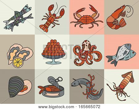 Seafood thin line vector icons set. Symbols of various delicacies - oyster, cancer, molluscs, mussels, eel, caviar, anchovies, octopus and dorado