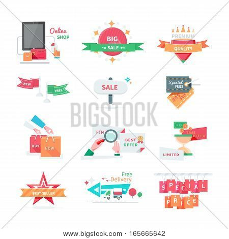 Business icons set. Sale, best offer, special price, best seller, premium quality, free delivery, limited time offer, buy now flat vector icon isolated on white. For online store sale, discount promo