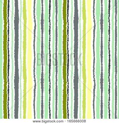 Seamless strip pattern. Vertical lines with torn paper effect. Shred edge background. Light, soft, green, gray, yellow, olive colors on white background. Winter theme. Vector