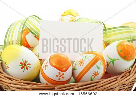 Easter painting eggs with notecard for holiday