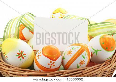 Huevos de Pascua pintura con notecard para vacaciones