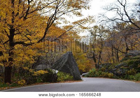 Winding road up the mountain to Smugglers Notch in Vermont