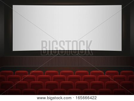 Interior of a cinema movie theatre. Red cinema or theater seats in front of white blank screen. Empty Cinema auditorium vector background