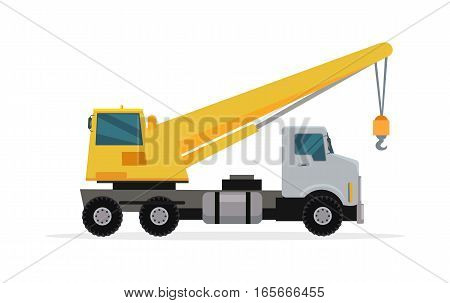 Truck crane vector. Flat design. Industrial transport. Construction machine. Big lorry with telescopic hoist. For construction theme illustrating, building companies advertising. On white background