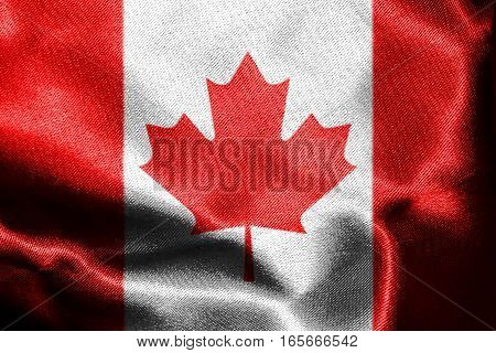 Canadian National Flag With Maple Leaf On It in Red And White Colors 3D Rendering