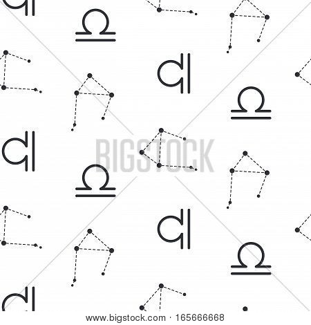 Libra constellation seamless vector pattern. Zodiac symbol black and white background.