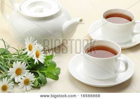 Teaset  with flower on table.