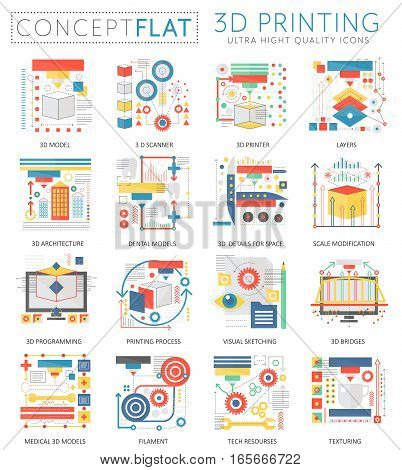 Infographics mini concept 3d printing technology icons for web. Premium quality color conceptual flat design web graphics icons elements. 3d printing concepts