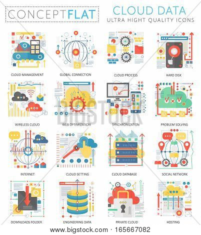 Infographics mini concept Cloud data icons for web. Premium quality color conceptual flat design web graphics icons elements. Cloud big data concepts