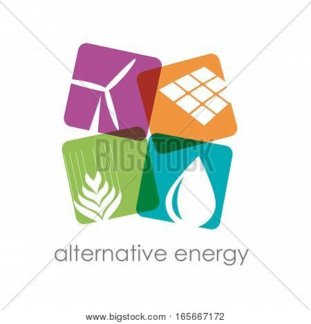 Vector sign alternative energy, four squares, isolated illustration