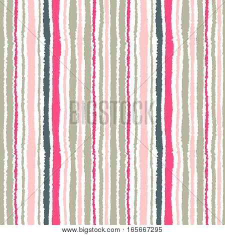 Seamless strip pattern. Vertical lines with torn paper effect. Shred edge background. Light, contrast, gray, pink colors on white background. Vector illustration