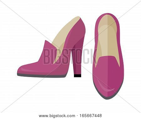 Women shoes isolated on white background. High heel shoe for female in flat style design. Pair of pink leather pump shoes. New spring autumn collection. Shoe shop sale. Vector illustration