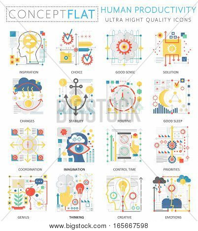 Infographics mini concept Human productivity icons for web. Premium quality color conceptual flat design web graphics icons elements. Human productivity concepts