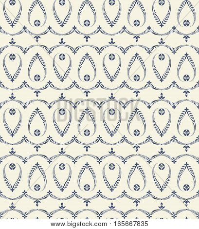 Religion seamless pattern. Laurel wreath, lace view texture with cross. Ceremonial, funeral background. Swirl stylized ornament. Blue, white colored. Vector
